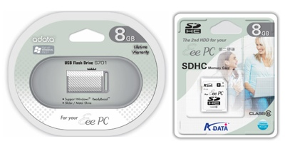 A-DATA S701 USB Flash Drive and SDHC Card for EeePC