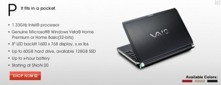Sony VAIO P-Series Netbook Leaked