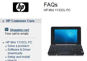 HP Mini 1100 series Netbooks