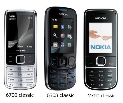 Nokia 6700 classic, 6303 classic and 2700 classic Mobile Phones
