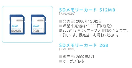 Nintendo 2G SD Card for Wii