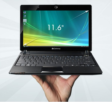 Gateway LT3103u AMD Netbook front on hand