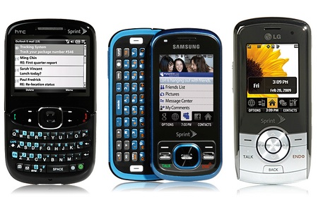 Sprint HTC Snap, Samsung Exclaim and LG LX370