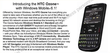 Verizon HTC OZone QWERTY Phone Leaked