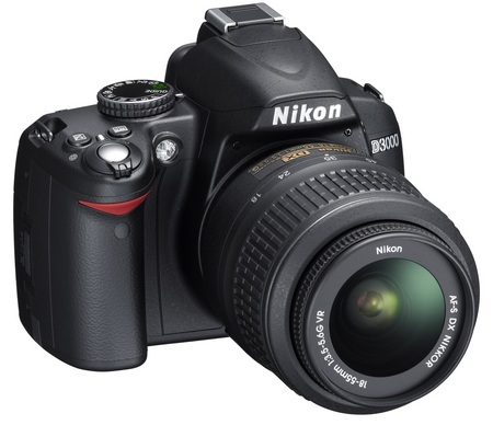 Nikon D3000 Entry-Level DSLR Camera front angle