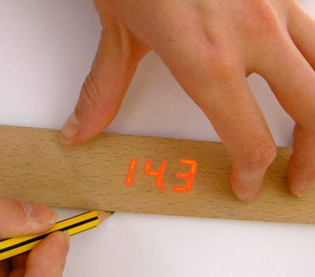 Wooden Electronic Ruler with Display in use