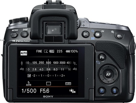 Sony Alpha a550 DSLR back