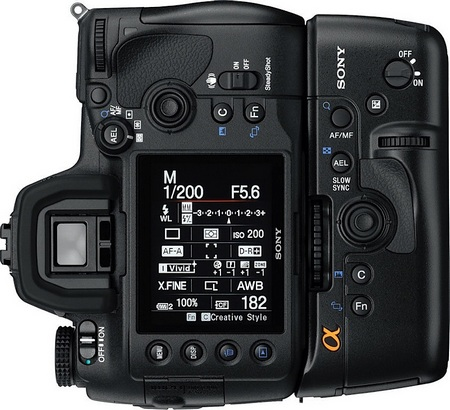 Sony Alpha a850 Full Frame DSLR back vertical