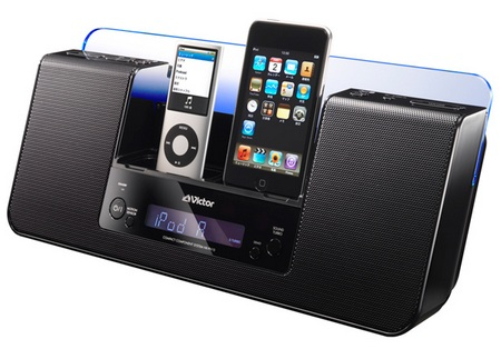 JVC-Victor NX-PN10 Speaker System with dual iPod Docks angle