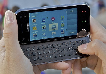 Nokia N97 mini QWERTY Phone on hand