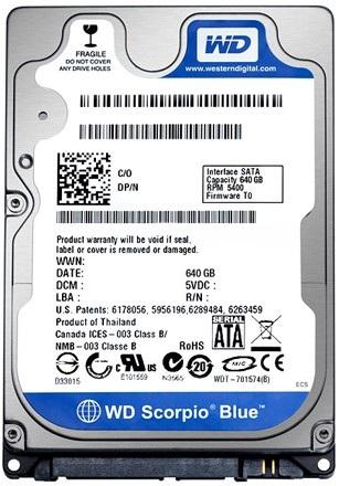 Western Digital Scorpio Blue 640GB standard 2.5-inch 9.5 mm high hard drive