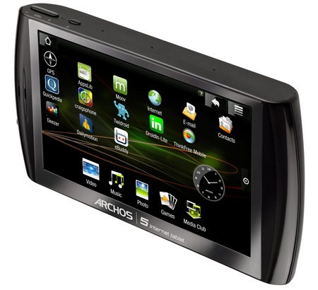 Archos 5 Internet Tablet with Android hard drive