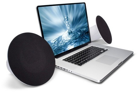 LaCie Sound2 Speakers with laptop