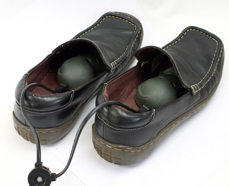 Thanko USB Shoe Dryer in shoes