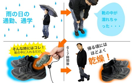 Thanko USB Shoe Dryer usage