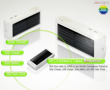 ZyRUS Sun Drive Solar Charger 4-in-1