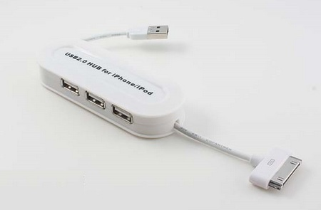 3-Port USB Hub with in-line iPhone iPod  dock Connector