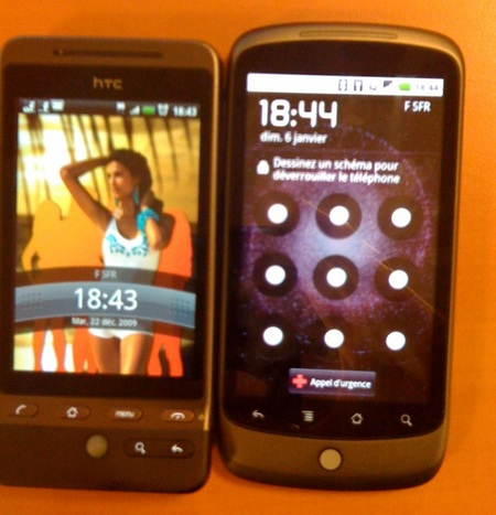 Google Nexus One Live Shot next to Hero