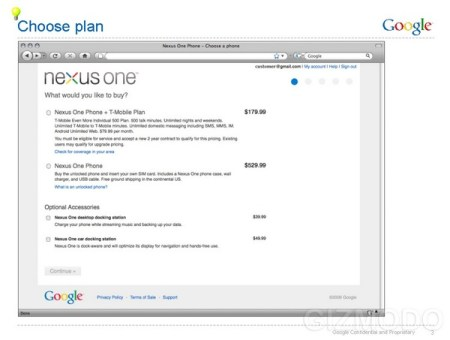 Google Nexus One Purchase Page leaked, Price 529.99