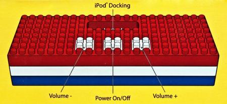 Lego Block iPod Speaker Dock buttons