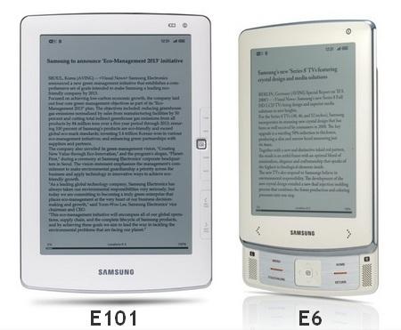Samsung E6 and E101 e-book Readers