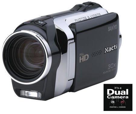 Sanyo Xacti VPC-SH1 Camcorder with 35mm wide angle and 30x zoom