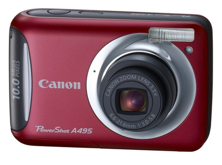 Canon PowerShot A495 entry-level digicam red