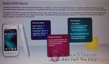 T-Mobile to offer the Nokia 5230 as Nuron