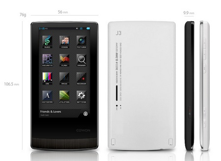 Cowon J3 AMOLED Portable Media Player dimension