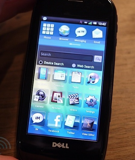 Dell Aero Android Phone home screen