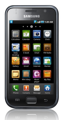 Samsung Galaxy S Smartphone - Android 2.1, 4-inch AMOLED, 1GHz CPU front