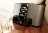 Sony ICF-DS11iP iPod dock clock radio in use