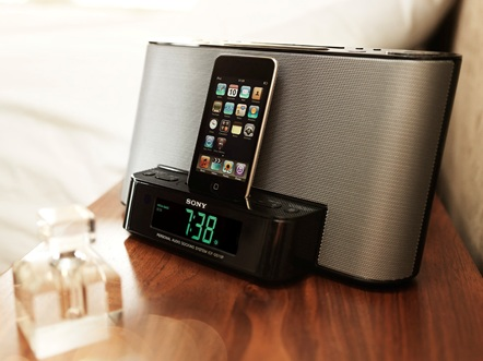 Sony ICF-DS11iP iPod dock clock radio in use