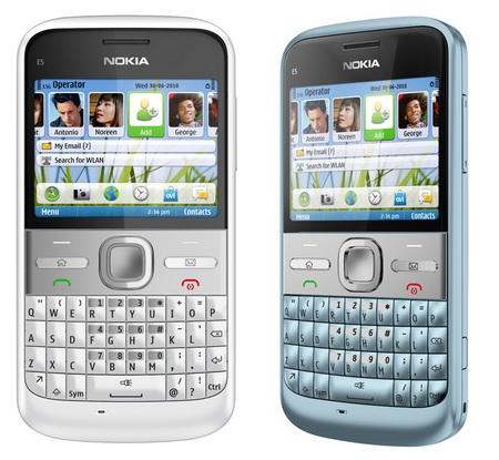 Nokia E5-00 QWERTY Business Smartphone Chalk White Sky Blue