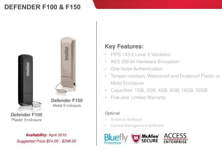 Imation Defender F100 and F150 Secure USB flash drive
