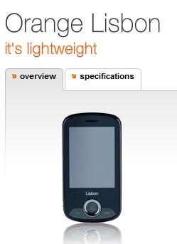 Orange Lisbon touchscreen phone