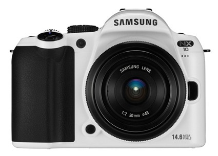 Samsung NX10 Limited White Edition front