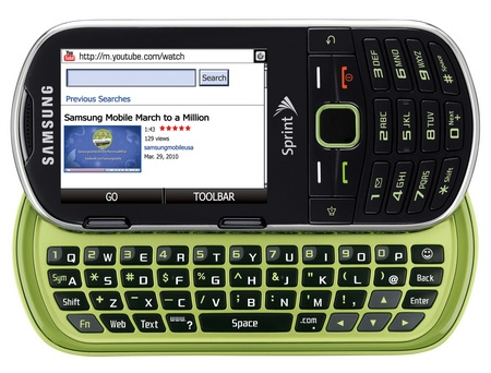 Sprint Samsung Restore m570 Eco-friendly Messaging Phone open Limeade