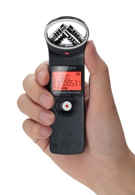 Zoom H1 Handy Stereo Recorder on hand