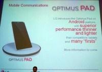 LG Optimus Pad Pictured