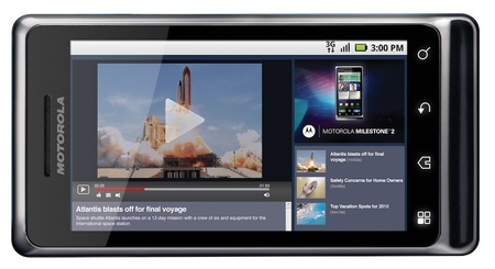Motorola Milestone 2 Android Smartphone landscape