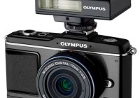 Olympus PEN E-P2 black-on-black kit with black lens and black flash