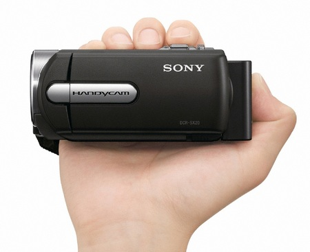 Sony Handycam DCR-SX15E Standard Definition Camcorder on hand