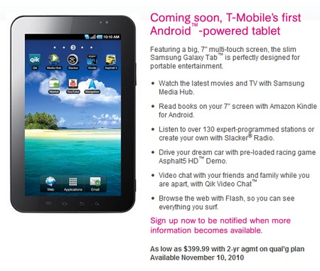 Samsung Galaxy Tab Hits T-Mobile on 11 November