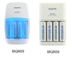 Sanyo eneloop MQN09 and MQR06 battery chargers