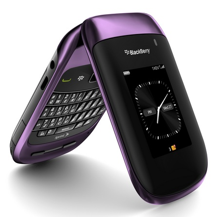 Sprint BlackBerry Style 9670 Clamshell Smartphone purple 1