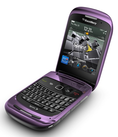 Sprint BlackBerry Style 9670 Clamshell Smartphone purple