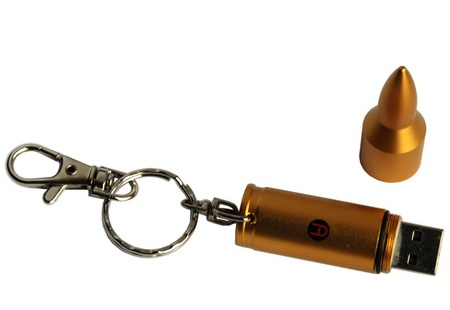 ActiveMP Gold Bullet USB Flash Drive keyring