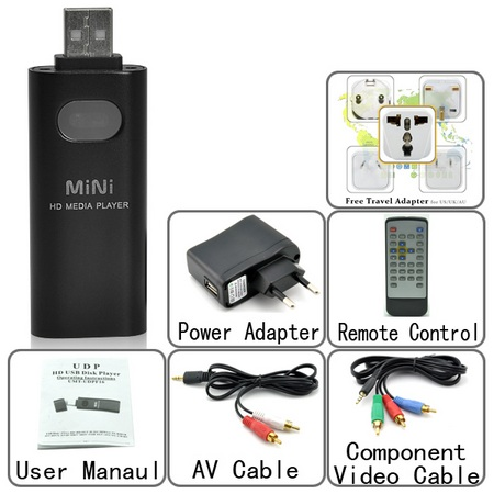 Chinavasion CVNZ-E142 Smallest HD Media Player included items
