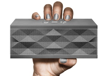 Jawbone JAMBOX Portable Bluetooth Speaker on hand